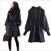 free shipping 2013 New arrival winter women's wool coat puff sleeve woolen big yard Black female outerwear Large yard coat xf024