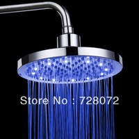 "Free Shipping 8"" Circle Copper Romantic 7-Color LED Shower Head Lights Home Water Bath-LD8030-A2"