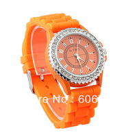 1 Piece Free shipping!Fashionable Watches,Rhinestone Style Dial Silicone Band Quartz Analog Wrist Watch,For Men Women,