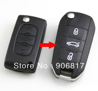 3 Buttons Modified Flip Folding Remote Key Shell Case Replacement For Peugeot 307 407 408 (without Groove)+ Free Shipping