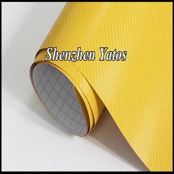 Yellow 4D Carbon Fiber Vinyl Film Car Wraps Sheet Air Free
