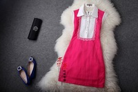 2013 organza embroidered lace vintage elegant turn-down collar slim one-piece dress rose gd074
