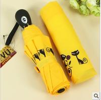 Cat small pholiota adiposa fully-automatic folding umbrella windproof umbrella anti-uv princess