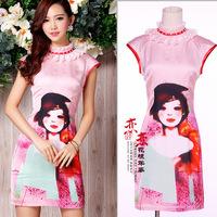 Fashion formal gentlewomen slim ol elegant cheongsam dress one-piece dress pink doll p690