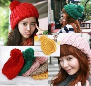 2013 Fashion Korean New Ladies Women's Girls Cute Candy Balls Wool Hat Knit Cap, Free Shipping(China (Mainland))