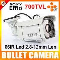 "700TVL 1/3"" Sony CCD Effio Outdoor CCTV Security Camera 2.8~12mm Len 66 LED 196ft IR OSD Menu Color White"