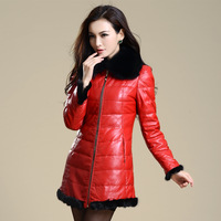 free shipping 2013 fox fur leather clothing sheepskin down coat female genuine leather clothing outerwear  Natural fur coat