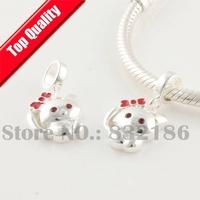 925 Sterling Silver Lovely Cat Loose Dangle Charm Beads, For European Thread Troll Charm Bracelet DIY Making YB134