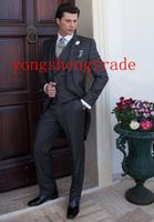 Custom Made Wedding Suits Mens Gray Morning Tuxedo Best Man Groomsmen Suit  Design Tail Tuxedo (Jacket+Pants+Vest +Tie)  MS0315