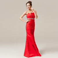 The bride fish tail design long formal dress fashion red evening dress tube top red formal dress very good