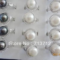 Free shipping 925 Sterling Silver Ring Unadjustable Very Chunky  Ring  Natural Pearl Good Gift