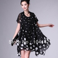 New style plus-size one-piece  chiffon white dot elegant dress designer fashion Show thin dress