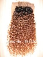 Malaysian Virgin Silk Base Closure #1bT30 Kinky Curl 4''x4'' Human Hair Closure--malaysian curly hair