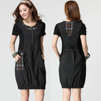 Ijaw 2013.6.10 926 plus size clothing summer women's 100% short-sleeve plaid cotton dress
