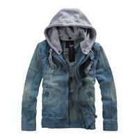 Autumn jacket denim outerwear coat slim Men detachable cap denim jacket