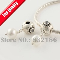 White Pearl 100% 925 Sterling Silver Dangle Slide Charm Beads with Lock Clip, DIY Jewelry Findings Fit Charm Bracelet YB128B
