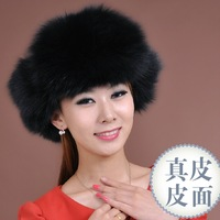 Cap Fur  full leather fox fur  genuine leather  fox fur  lei feng thermal protector ear   hat Free shipping