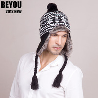 Hat Beyou sphere knitted  ear protector  autumn and winter snow  male thermal casual  cap  Free shipping