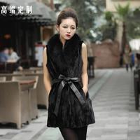 Free Shipping 2013 Female Fox Fur Collar Medium-long Vest High Quality Imitation Mink Fur Coat Black Outerwear Women