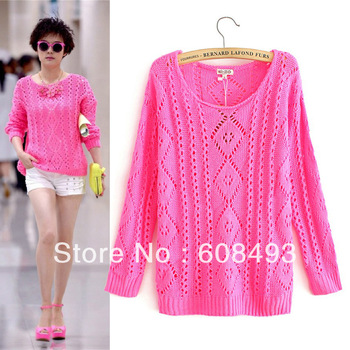 New Autumn fluorescent color loose diamond hollow crochet knit sweater round neck pullover sweater female thin Knitwear