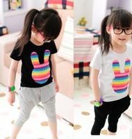 2013 NEW Popular Korean Children Cartoon Rainbow Rabbit Cotton Short-sleeves T-shirts Cut Girls Clothing 5pcs Free Shipping