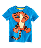 2013 Hotsale Free Shipping Children High Quality Boys T Shirt Kids Tops Summer Wear Short Sleeve Clothing Tiger Blue Color5Size