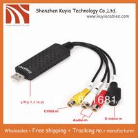 5pcs/lot!Free shipping+New USB 2.0 Easycap dc60 tv dvd vhs video Capture adapter card Audio AV Capture