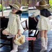 Free shipping Child summer beach cap sunbonnet children's clothing 2013 baby autumn child lace cutout  long-sleeve dress