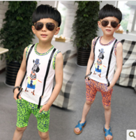 (5 pieces/lot)  wholesale 2013 new summer free shipping boy male child set vest set children's clothing set
