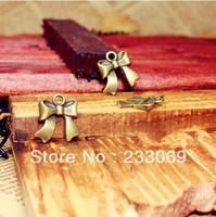 100pcs/lot Antique Bronze Lovely Ribbon Bowknot Charms Pendants 16*18mm Metal Alloy Vintage Charms