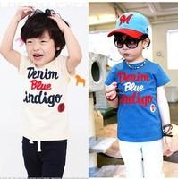 2014 Hot Sale Real Wholesale Free Shipping Korean Style100%cotton Tshirt Size100-140 Summer Shirt 5pcs/lot Kids 2colour Andwhite