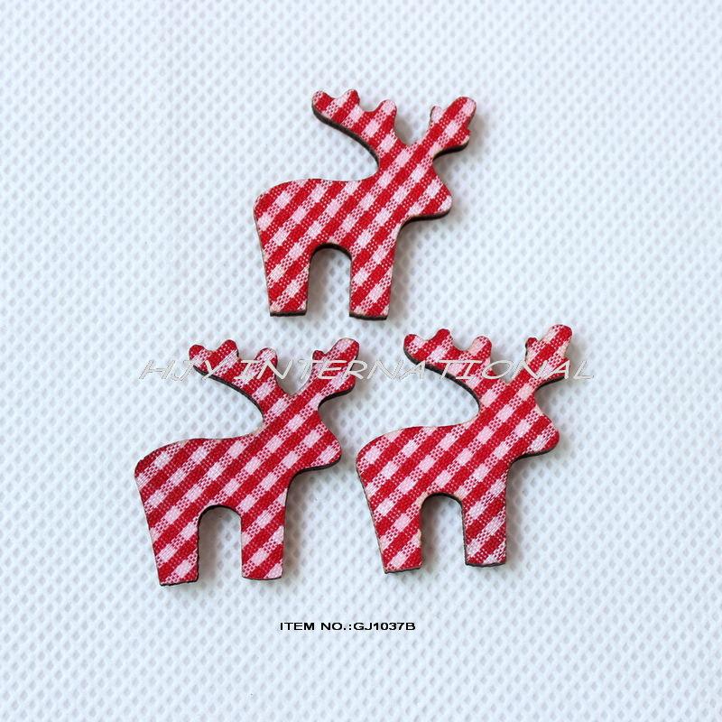 (120pcs/lot) Red checked fabric reindeer wood back Christmas crafts hair pin rings bulk -GJ1037B(China (Mainland))