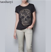 Free shipping lady t shirt  Diamond Star Print ordered skull women's short-sleeve 100% cotton t-shirt