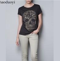 Free shipping lady t shirt  Diamond Star Print ordered skull women's short-sleeve 100% cotton t-shirt