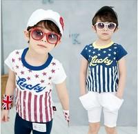 Wholesale Free Shipping Short Sleeve 100%Cotton Five Star Striped Printed Tshirt Size100-140 Summer TShirt 5Pcs/Lot Kids Shirt