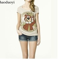 Free ship women/lady Yogi Bear series printing t shirt women's short sleeve cotton t shirt