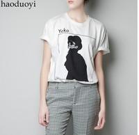 Free ship women's YOKO Ono white printing t shirt short sleeve 100%cotton t-shirt lady t shirts