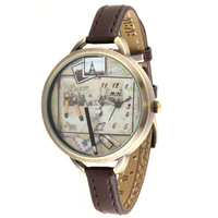 Handmade POLYMER CLAY 2013 Korea MINI Brand watch Genuine Leather Brown Dress Women watch , Hot selling-Pencil