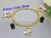 Free Shipping Lovely Charm Bracelet Bear Pendant Bracelet Brand Jewelry Top Quality Package (Dust bag,Gift Box) #TSB11-White