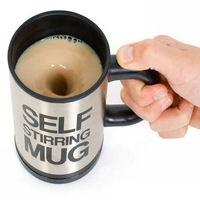 Automatic mixing coffee cup, bluw stainless steel self stirring coffee mug, novelty electric stirring coffee mixing cup