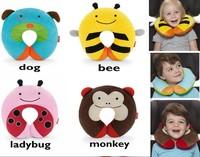 Free Shipping Cartoon Cushion Care Pillows U Shape Baby Kid Children Lovely neckrest car seat travel neck rest soft plush animal