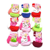 6 pairs/lot lovely 3d animal sound baby winter Gloves kids full finger gloves free shipping