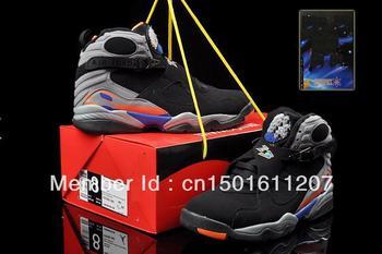 Free Shipping ,High quality Men's J 8,jd8,j8 VIII Retro Black Aqua basketball shoes,Athletic basketball trainer Shoes