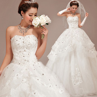 Solid color 2013 sweet princess puff skirt wedding dress tube top wedding dress