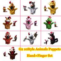 1set Christmas Puppets G2 Plush Cartoon Stuffed Dolls10kinds Animals Hand Puppets+Finger Puppets Kids Toys Talking Props