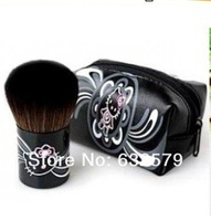 Wholesale Hello Kitty Black Natural Animal Soft Hair Makeup Tool Brush With Leather Bag,Blush Brush. TOP Quality,FREE SHIPPING