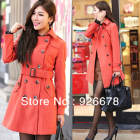2013 Autumn and winter fashion brand new women orange color woollen overcoat topcoat wind coat overgarment, lady  wind coat