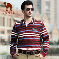 Autumn camel Men stripe turn-down collar long-sleeve T-shirt 100% comfortable cotton t-shirt 3f73002