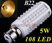 10pcs/lot,AC 200-230V LED Lamp B22 108 led corn light bulb 5W 450LM warm white/cold white led lighting free shipping
