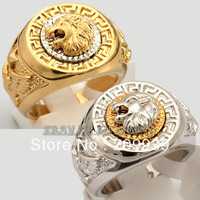 hj 0045 Fashion Cool Lion Eagle Star Ring 18K GP